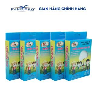 Combo 5 hộp khẩu trang y tế 3 lớp kháng khuẩn trẻ em Famapro 5D Baby (10 cái hộp) thumbnail