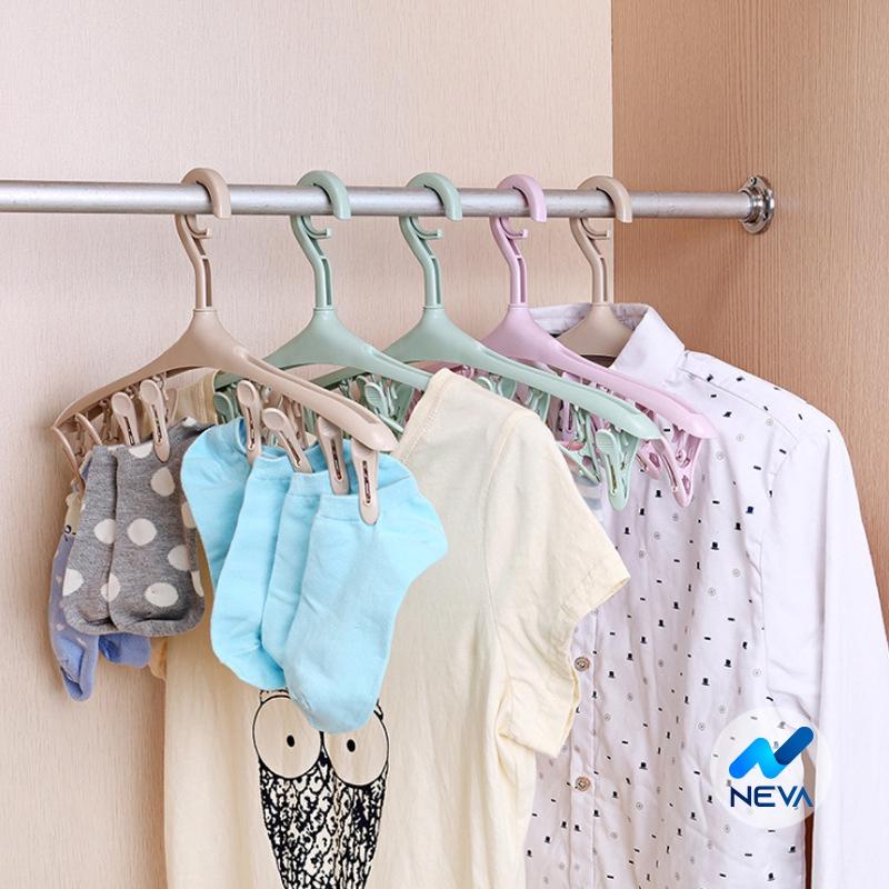 Móc treo quần áo kèm 8 cặp bằng nhựa nhiều màu sắc 8CH
