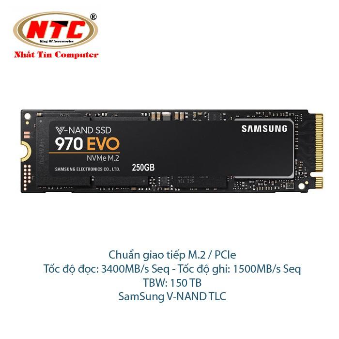 Ổ Cứng SSD Samsung 970 EVO M2 250GB - Chuẩn giao tiếp PCIe Gen 3×4 (đen)