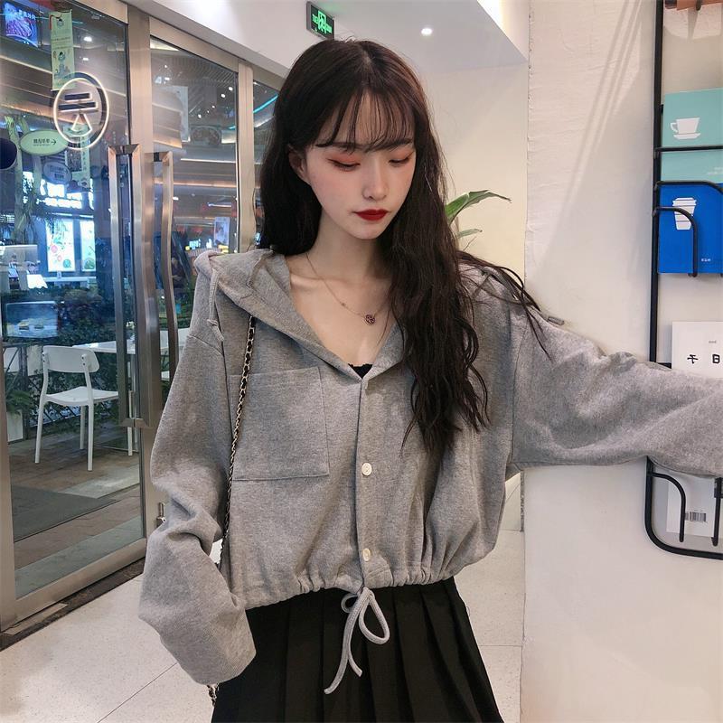 Áo Hoodie Lửng Dài Tay Phong Cách Hàn Quốc Dành Cho Nữ