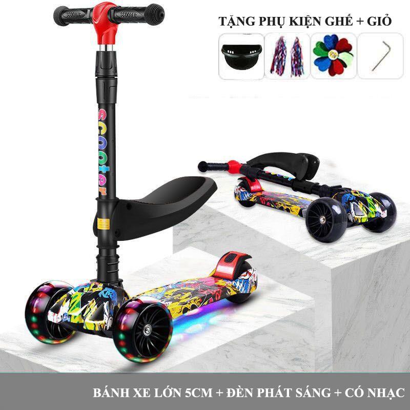 Xe trượt scooter cho bé GRAFFITI 3 bánh xe lớn có đèn nhạc phù hợp bé từ 2-14 tuổi (Tặng ghế ngồi + full phụ kện)