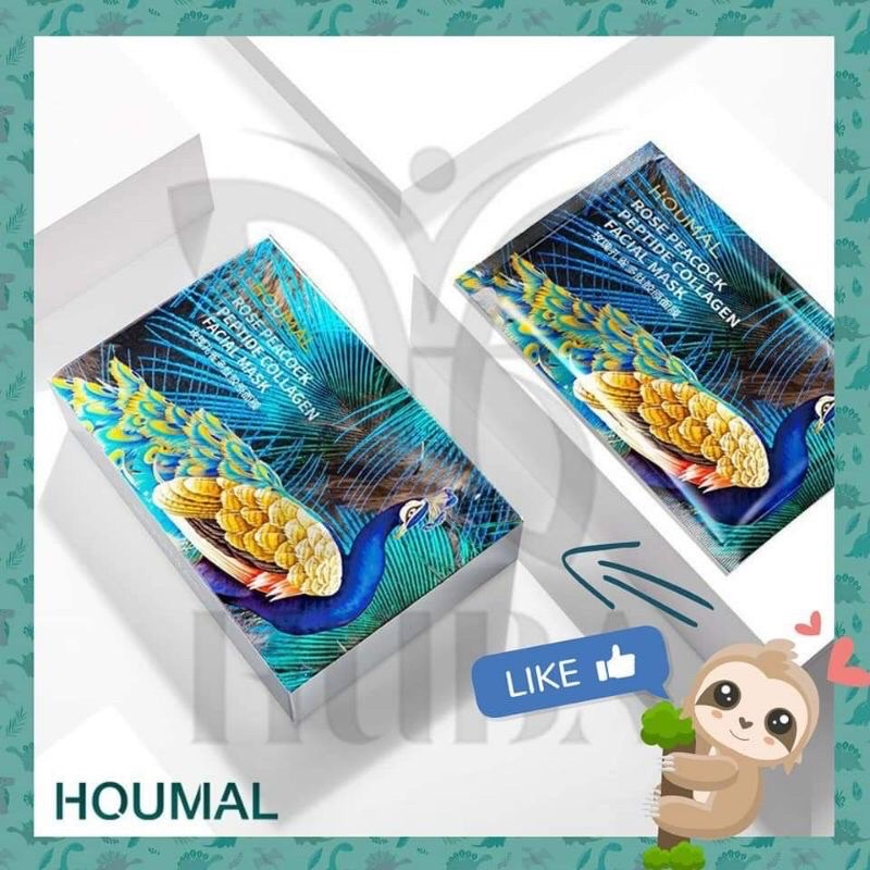 Mặt nạ giấy con công Houmal Rose Peacock Peptide Collagen facial mask - Sheet mask