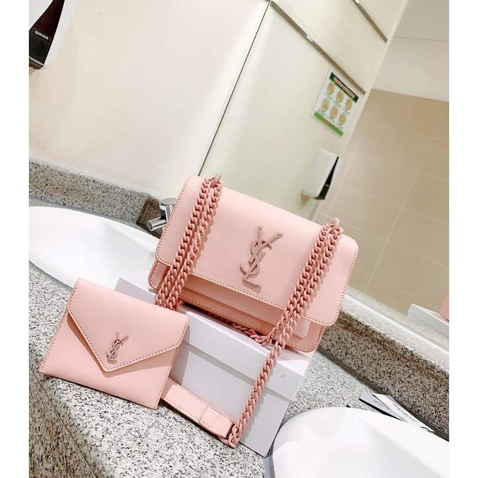 Set túi ví sang trọng túi xách nữ nhiều ngăn full dây xích đeo chéo đeo vai thời trang SETYSL01 + hình thật