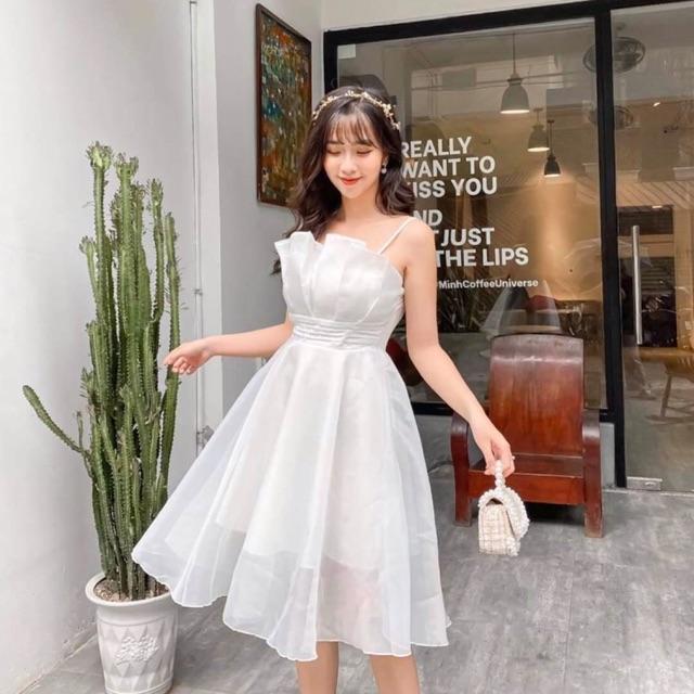 Đầm xoè công chúa 2 dây xếp li   Shopee Việt Nam