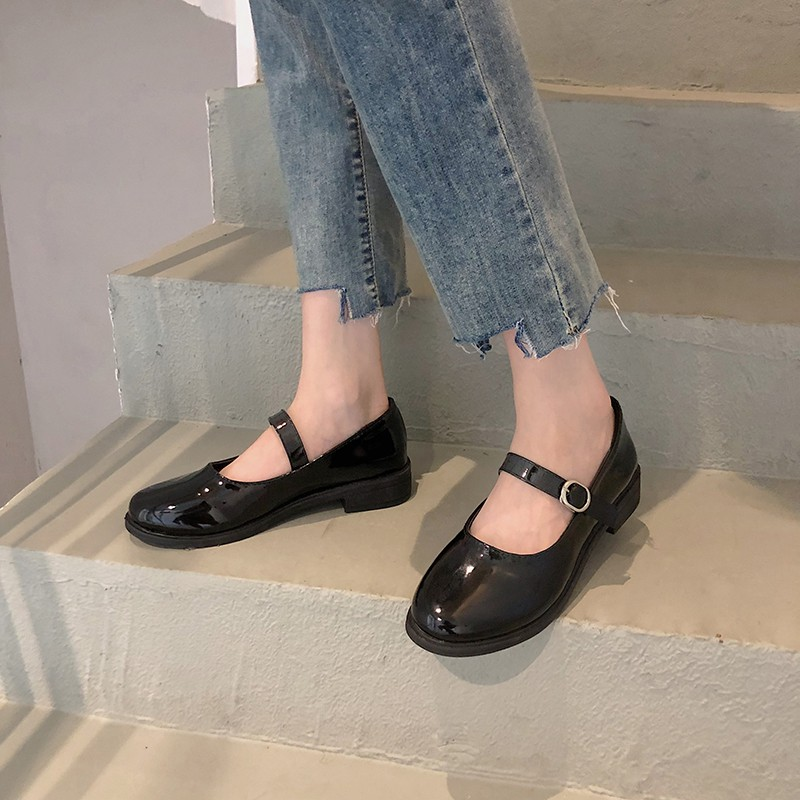(Sẵn + clip) Giày Mary Jane da bóng