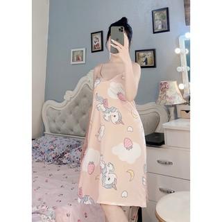 Váy Ngủ 2 Dây Lụa Satin Mặc Nhà Baby Tôn Dáng Cao Cấp - BV02 - Babi mama thumbnail