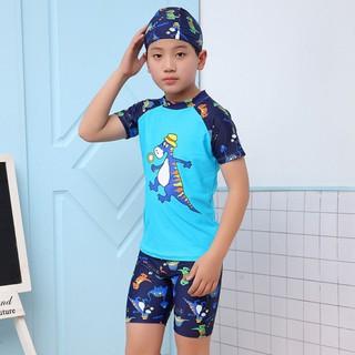 Đồ bơi trẻ em bé trai cao cấp S0010 SESAN SPORT, bộ gồm áo quần và mũ bơi