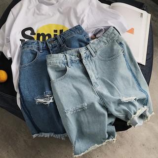 Quần jeans lửng rách gối thời trang dành cho nam