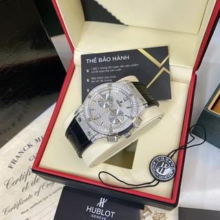 Đồng hồ nam Hulo máy cơ full diamond dây da chống nước cao cấp DH208 Shop114