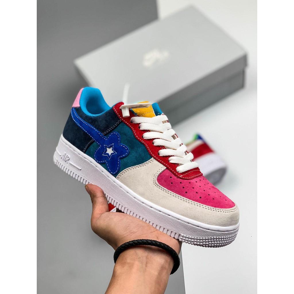 Nike Air Force 1 Bapa An Yi แบรนด์กรมน้ำญี่ปุ่นดอกไม้เล็กชื่อร่วมกองทัพอากาศหมายเลข 1 รองเท้าลำลองคลาสสิก Wild Retro