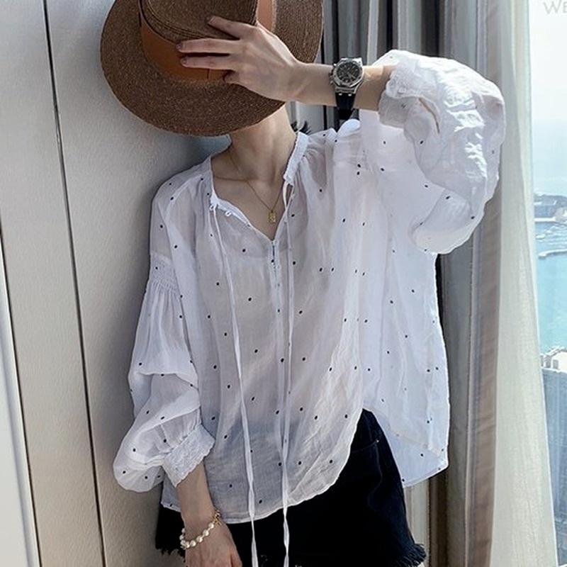 Dễ Thương Áo Sơ Mi Họa Tiết Chấm Bi Phong Cách Hàn Quốc Thời Trang Cho Nữ 210610