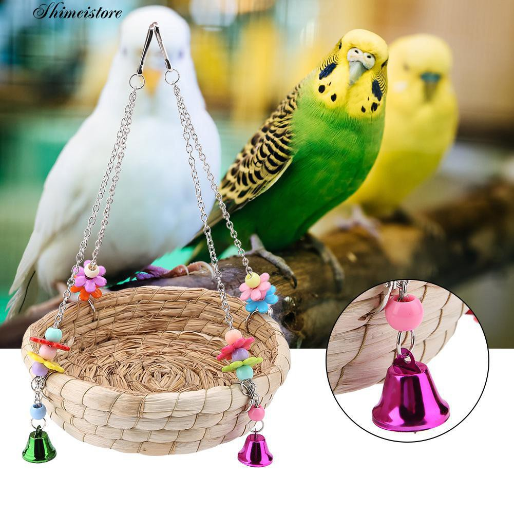 SM ☻Colorful Beads Bell Pet Bird Toy Parrot Hang Basket Swing Straw Nest Cage