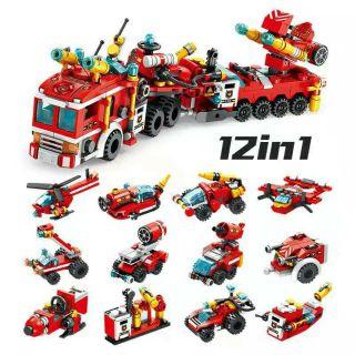 Lego lắp ráp mô hình đội cứu hoả trong thành phố