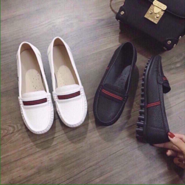 [Mã INCUBACK0610 hoàn 20K xu đơn 50K] (HOT TREND) Giày mọi nữ giày lười nữ giày bệt nữ viền đỏ xinh xắn DA TỐT HÀNG ĐẸP