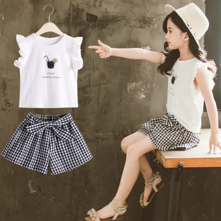 [small plaid suit] Korean children's casual wear tops + plaid shorts daily wear specials simple and playful