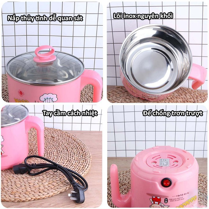 Nồi Điện Mini Chống Dính Đa Năng có thể Chiên, Xào, Rán, Nấu cơm ,nấu lẩu - Nồi Lẩu Mini chống dính -GD272