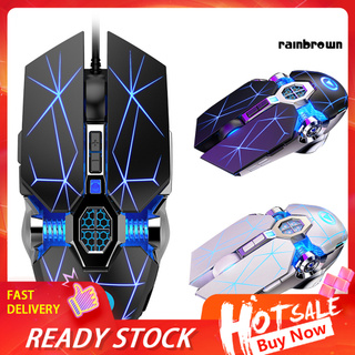 Wired Mechanical USB 7 Buttons LED Backlit Mute Gaming Mouse Mice for PC Laptop /RXDN/