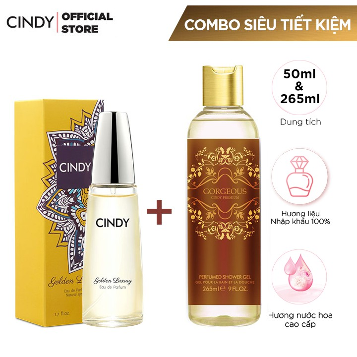 Combo Nước Hoa Cindy Golden Luxury 50ml + Sữa tắm Cindy Premium 265ml