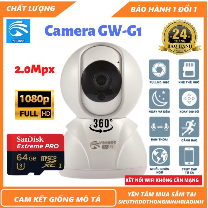 Camera wifi -  Yoosee Công Chúa Trong Nhà GW-G1 2.0Mpx-1080p Xoay 360 - Đàm Thoại 2 Chiều -Kèm Thẻ 128GB[BH 2 Năm]