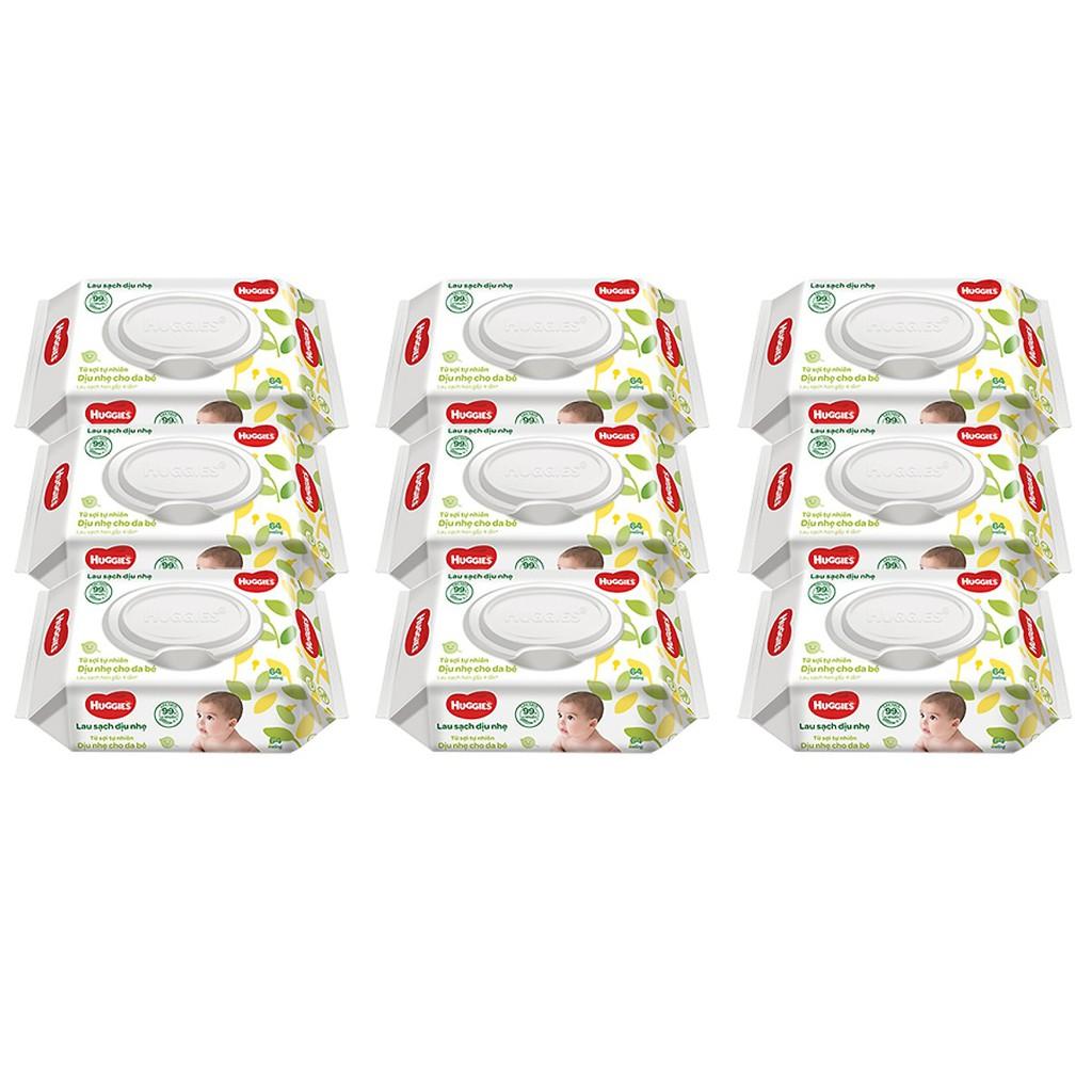 Thùng 12 gói Khăn ướt Huggies không mùi (64 miếng/gói)