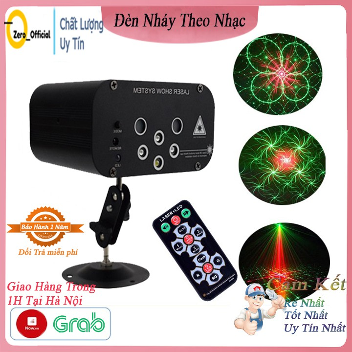 Đèn nháy theo nhạc 6 mắt laser chiếu 64 hình, đèn phòng bay chiếu ánh sáng laser có điều khiển từ xa.
