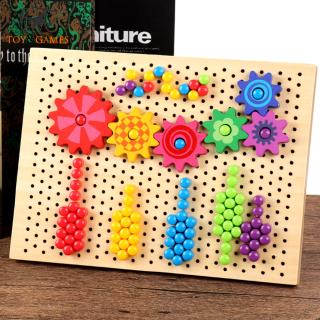 296pcs Button Mushroom Pin Jigsaw Puzzle Illustrations Board Children Brain Teaser Chess Flight