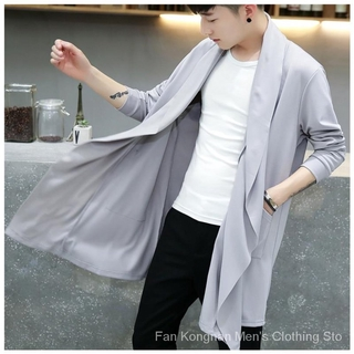 Men's Long-sleeved Cardigan Korean Cloak Coats Open Front Long Casual Windbreaker Knitted Cardigan For Men Knee Length Solid Color Male Sweatshirts