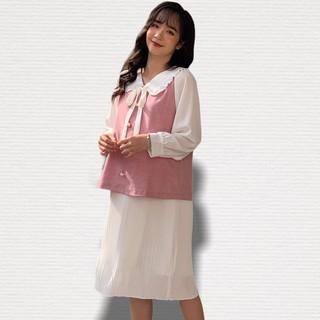 MEDYLA - Váy Bầu Thu Đông 2 lớp nỉ chun xếp ly cho bầu mùa đông ấm áp - VS397 thumbnail