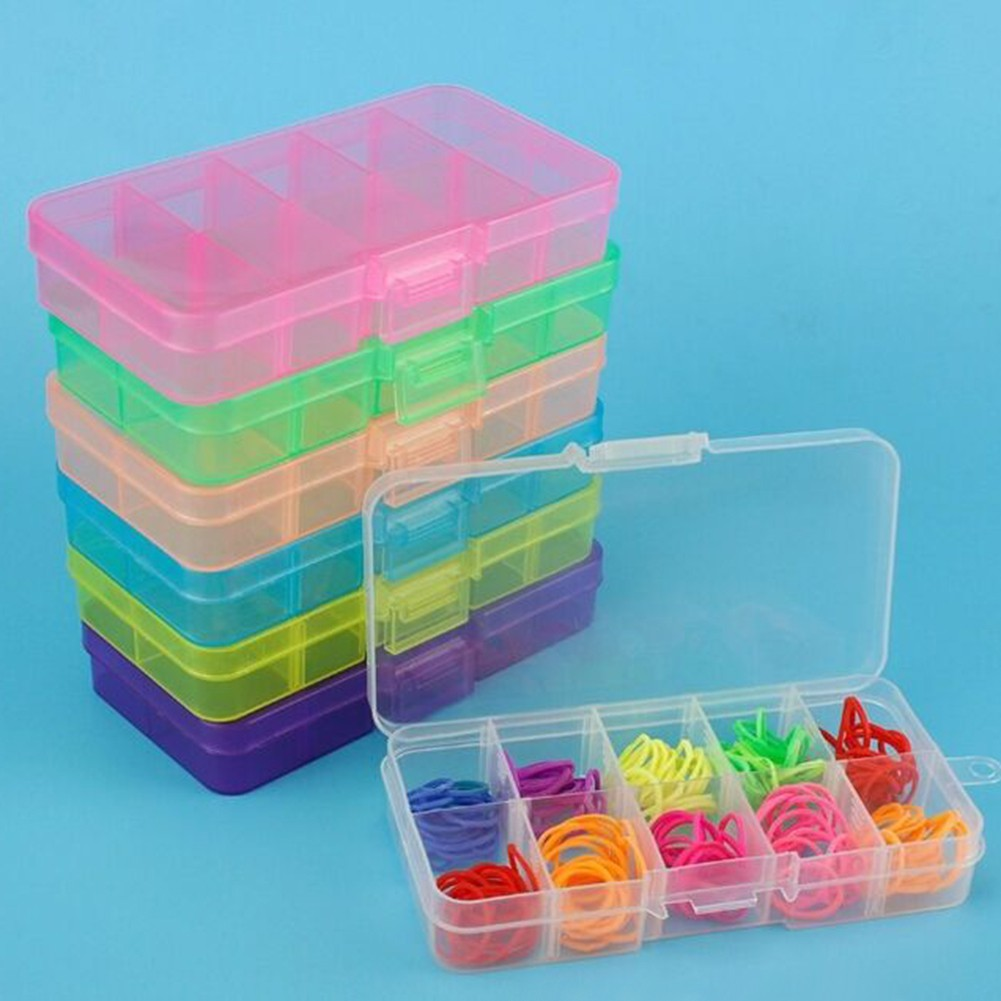 ↨COD↨10-Slot Jewelry Rings Ear StudBeadsBoxContainer Organizer