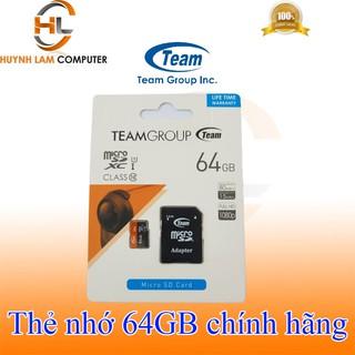 [Mã ELFLASH5 giảm 20K đơn 50K] Thẻ nhớ 64gb - Thẻ nhớ 64gb Team Class10 tốc độ 80/15Mbs chính hãng Phúc Thịnh phân phối
