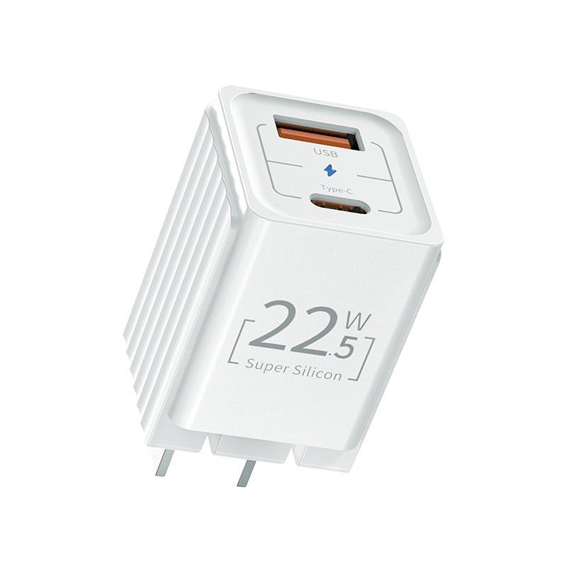 Củ sạc nhanh Rockspace T66 mini, 2 cổng USB - TypeC sạc nhanh chuẩn PD 22.5W, ổn định, không nóng máy, hàng chính hãng