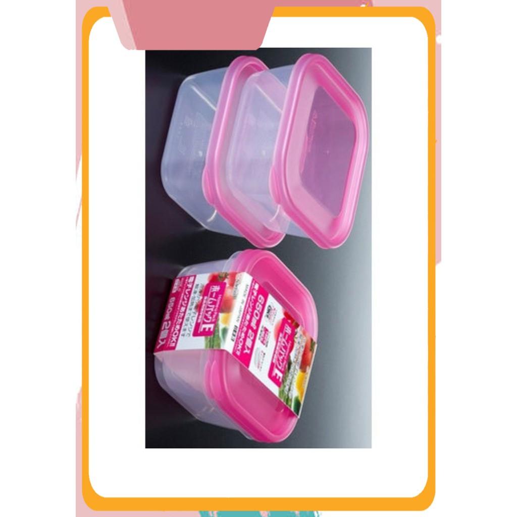 [Sale Siêu Hot] Set 2 hộp nhựa dung tích 650ml màu hồng