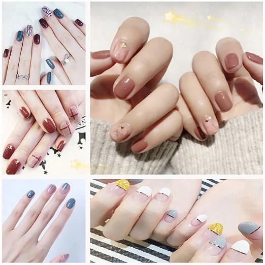 Bộ dán móng tay nail sticker gồm 14 móng, không thấm nước, độ đàn hồi tốt DA021-DA040
