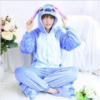 Combo bộ đồ thú stich xanh kèm dép cho người lớn và trẻ con