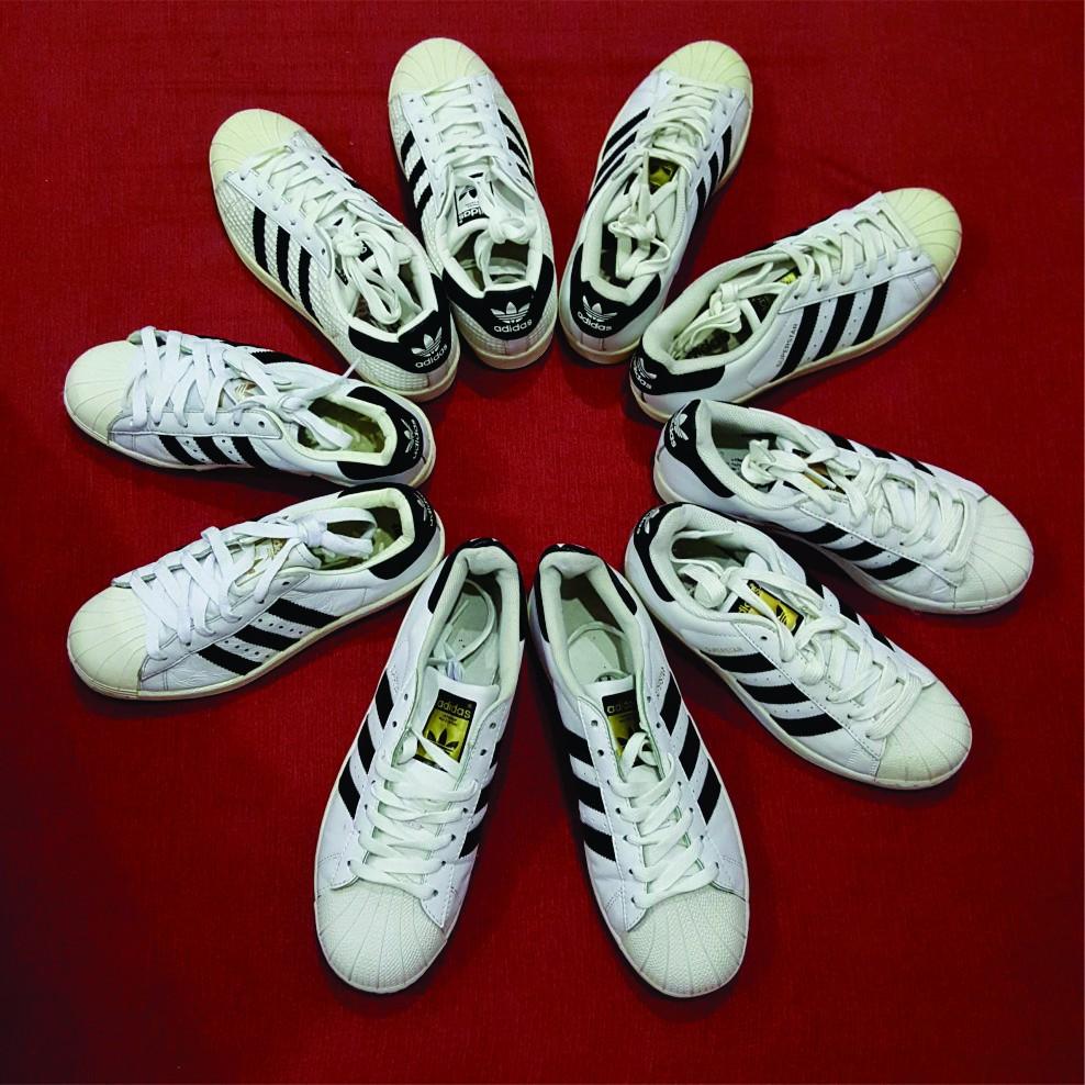 Giày ADIDAS chính hãng 2hand mũi sò nam/ nữ màu trắng đen adi1001