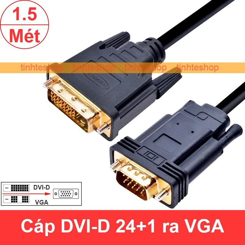Bộ cáp chuyển DVI-D 24+1 sang VGA 20Cm, dùng chuyển tín hiệu Video, hình ảnh từ VGA card DVI-D ra màn hình VGA 1080P