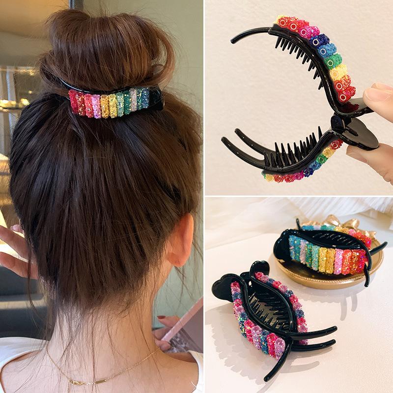 Kẹp tóc càng cua màu cầu vồng phong cách Hàn Quốc dễ thương dành cho nữ