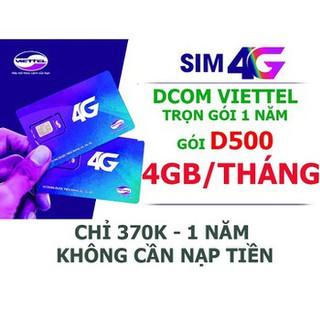 [Mã ELMSBC giảm 8% đơn 300K] Sim 4G Viettel trọn gói 1 năm D500 4Gb/tháng