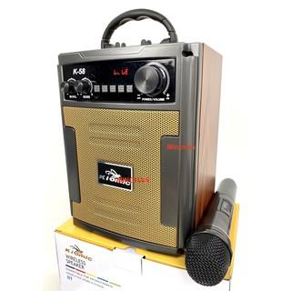 Loa Kéo Di Động Bluetooth Karaoke Thùng Gỗ Kiomic K58 Âm Chuẩn - Tặng Kèm 1 Micro Không Dây Hát Cự - Giao Màu Ngẫu Nhiên