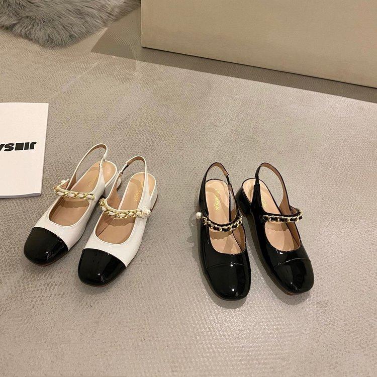Giày búp bê gót thấp cái nút gài thời trang mùa xuân thanh lịch cho nữ