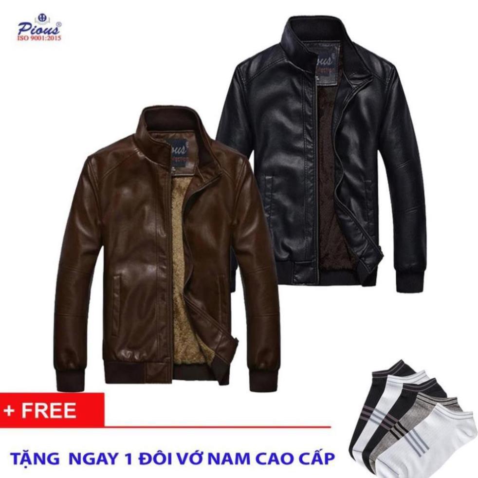 Áo khoác da lót lông nam thời trang cao cấp Gabofashion AKD75NAUĐEN hàng VNXK