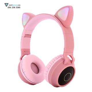 Tai nghe tai mèo cụp tai BT028C Bluetooth, led RGB, bass khỏe