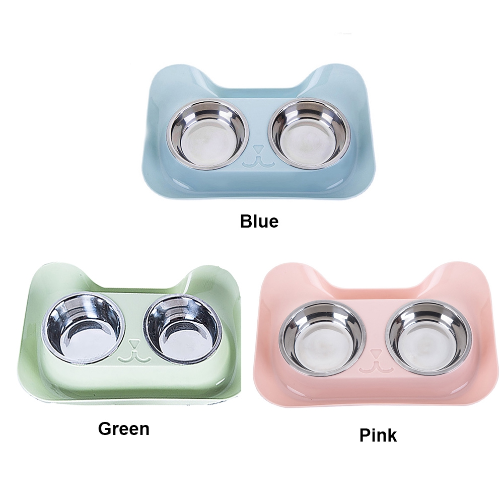 Non Spill Easy Clean Durable Stainless Steel Double Anti Slip Safe Pet Feeding Bowl