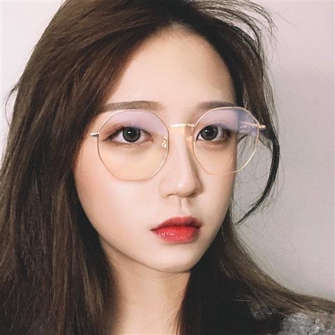 Polygonal Internet Celebrity with Chain Myopia Frame Women's Korean-Style Retro Harajuku Style Men's Gold Edge Ultra Lightins Ilp8