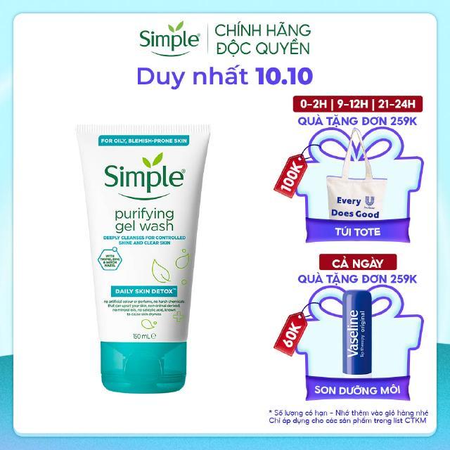 Sữa rửa mặt Simple giúp kiềm dầu ngừa mụn cho da mụn nhạy cảm & không chứa xà phòng 150ml [CHÍNH HÃNG ĐỘC QUYỀN] thumbnail