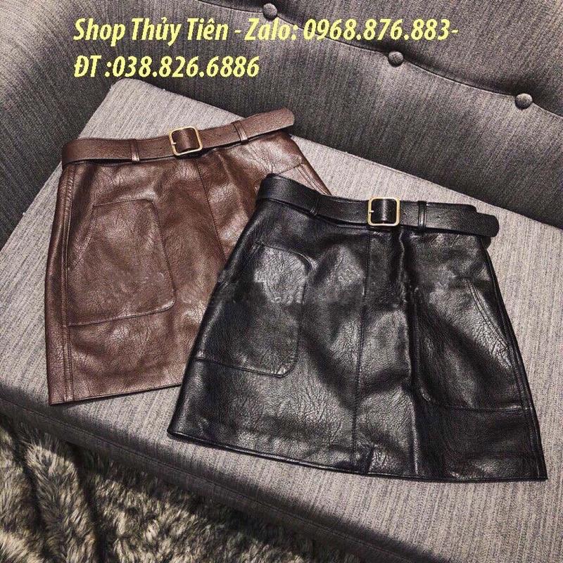 Chân váy da 2 túi kèm đai hàng Quảng Châu(#237)