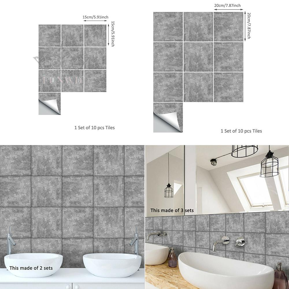 Tile Stickers Adhesive Bath Kitchen Wall Floor Tile Stickers Bathroom Removable PVC Industry Concrete Practiacl