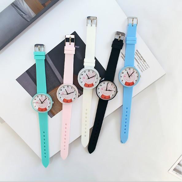 Đồng hồ nữ dây silicon họa tiết Peppa Pig