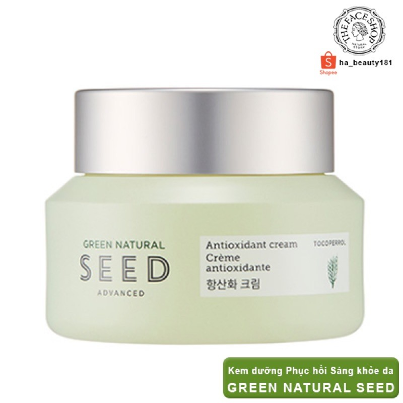 (AUTH)Kem dưỡng CHỐNG lão hoá & PHỤC HỒI da Green Natural Seed Advanced Cream THE FACE SHOP