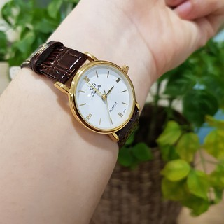 Đồng hồ nữ QB dây da viền vàng thời trang chống nước chống xước tuyệt đối 3atm Tony Watch 68